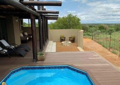 Luxury Bush Villa private pool, deck area and private boma with fire pit